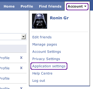 remove facebook application step 1