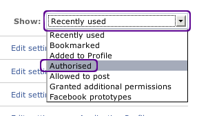 remove facebook application step 2