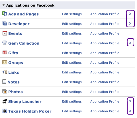 remove facebook application step 3